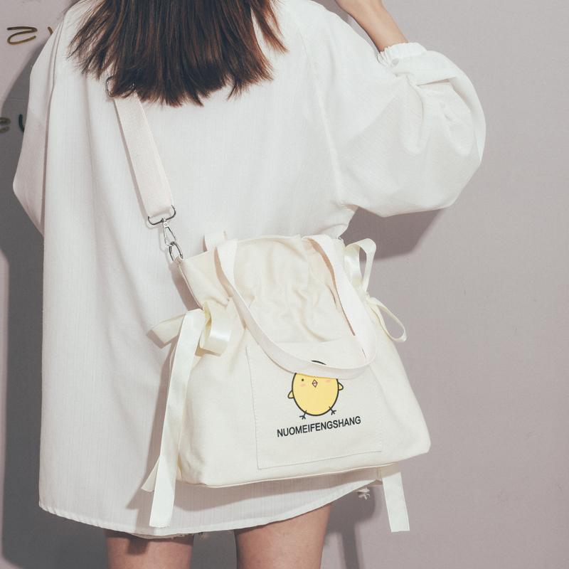 黄色手提包 大容量帆布包包女包新款2020日系原宿单肩手提包大学生上课斜挎包_推荐淘宝好看的黄色手提包