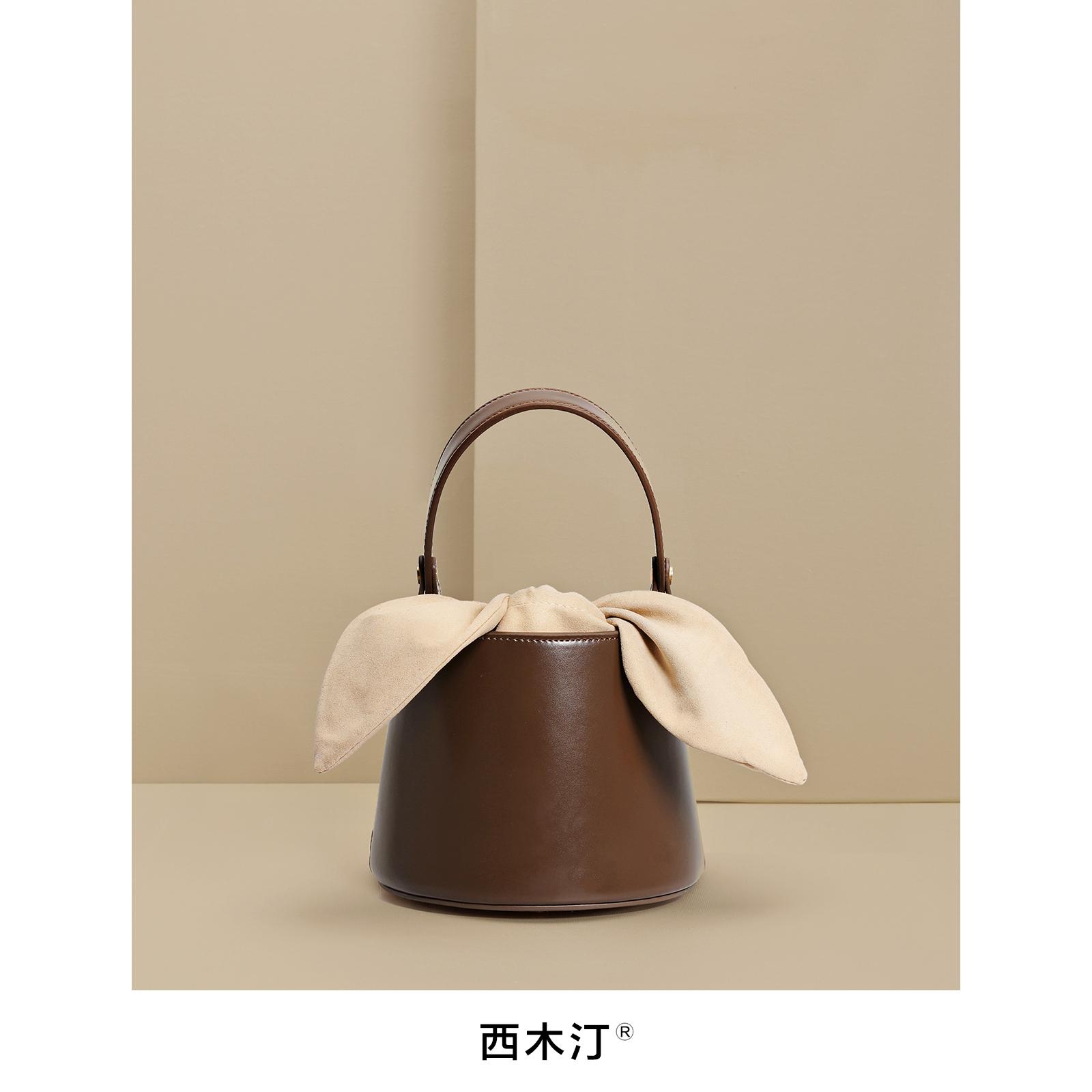 黑色手提包 【西木汀】小众设计师品牌包水桶包包女2020新款小包单肩斜挎手提_推荐淘宝好看的黑色手提包