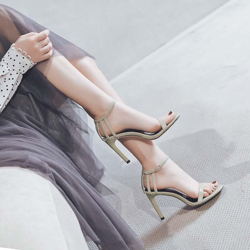 鱼嘴性感高跟鞋 一代佳人性感女鞋2021新款夏季高跟鞋女细跟露趾一字带凉鞋女百搭_推荐淘宝好看的鱼嘴性感高跟鞋