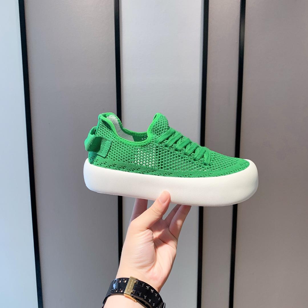 绿色松糕鞋 飞织透气小白鞋女2021夏季薄款绿色网面休闲百搭单鞋厚底松糕板鞋_推荐淘宝好看的绿色松糕鞋