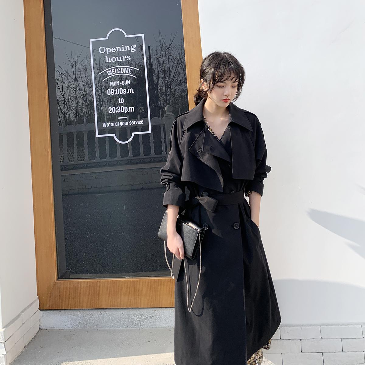 黑色风衣 黑色风衣女中长款2021春秋韩版宽松外套气质设计感小众赫本风大衣_推荐淘宝好看的黑色风衣