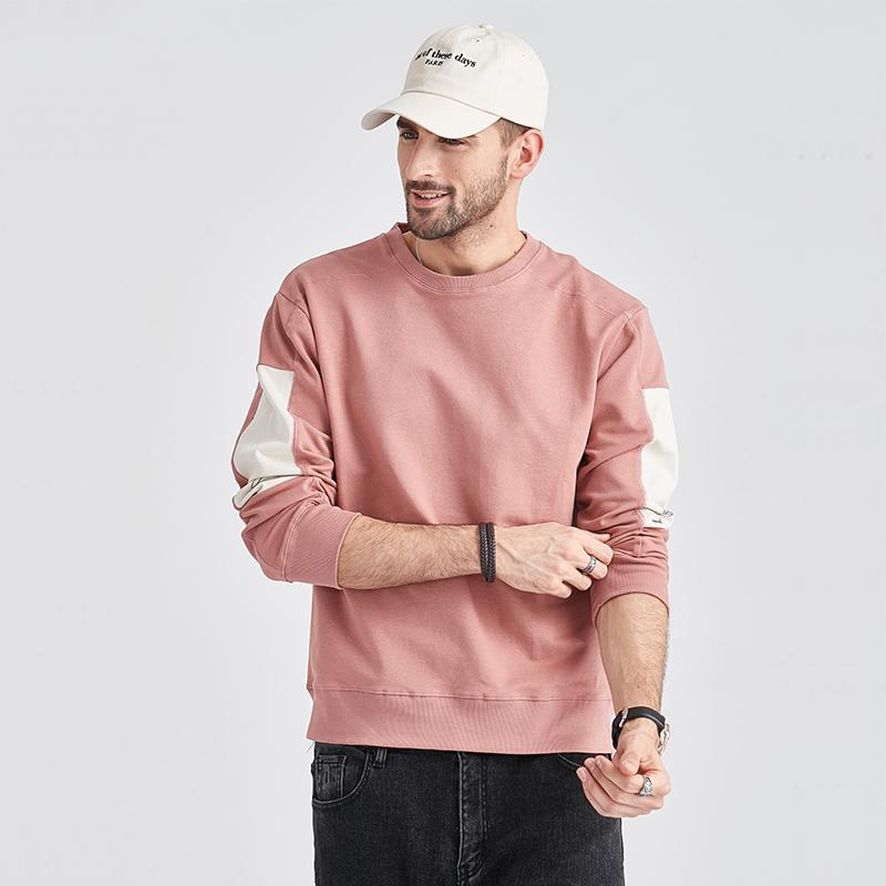 粉红色卫衣 2021秋季新款卫衣男士圆领韩版潮流加绒加厚长袖t恤男装粉红色丅_推荐淘宝好看的粉红色卫衣