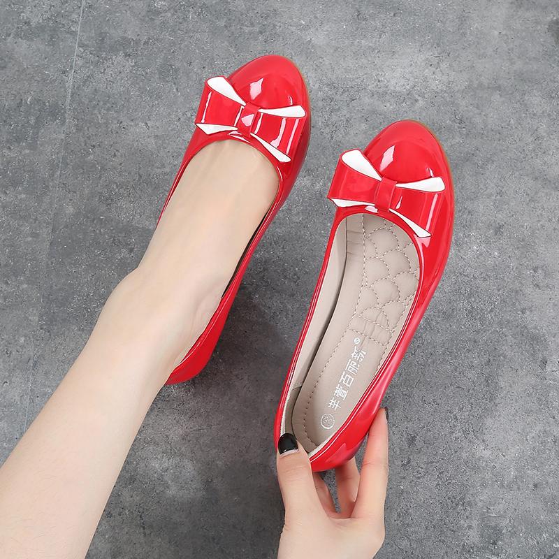 百丽单鞋 20春季新款圆头漆皮红色淑女中跟单鞋拼色蝴蝶结软底坡跟33豆豆鞋_推荐淘宝好看的百丽单鞋