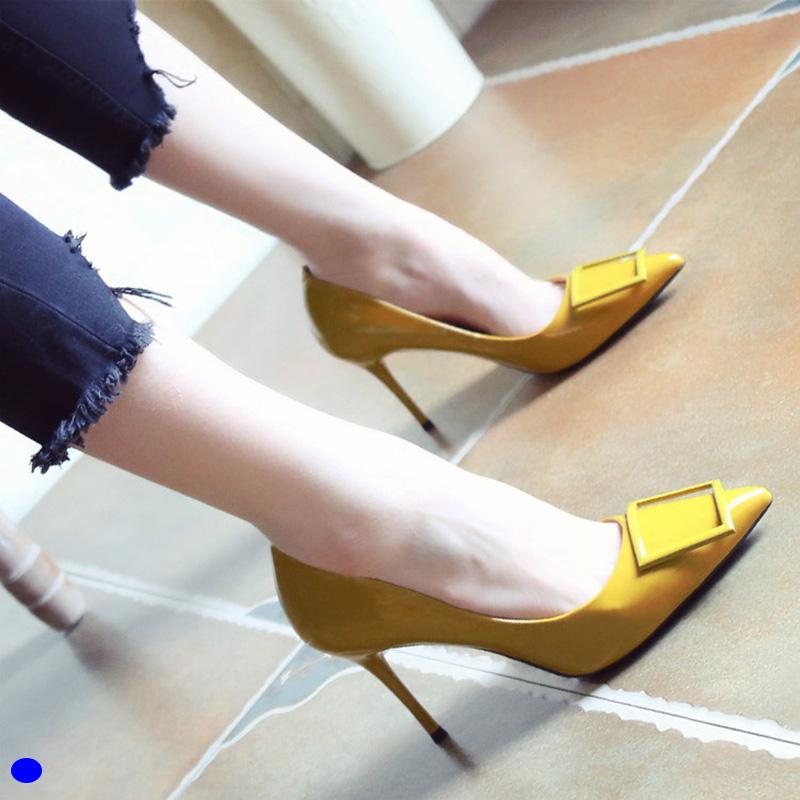 黄色尖头鞋 韩版2021春夏季新款女尖头高跟鞋细跟百搭性感时尚皮带扣单鞋黄色_推荐淘宝好看的黄色尖头鞋