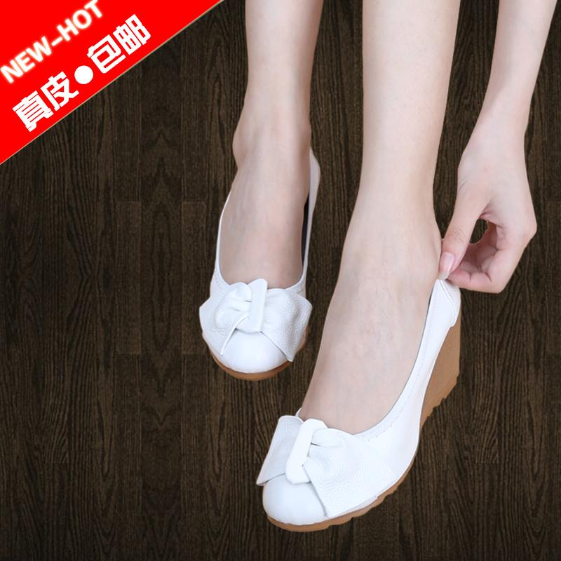 白色高跟单鞋 春款坡跟浅口真皮软底小白鞋单鞋女高跟皮鞋白色护士工作鞋妈妈鞋_推荐淘宝好看的女白色高跟单鞋