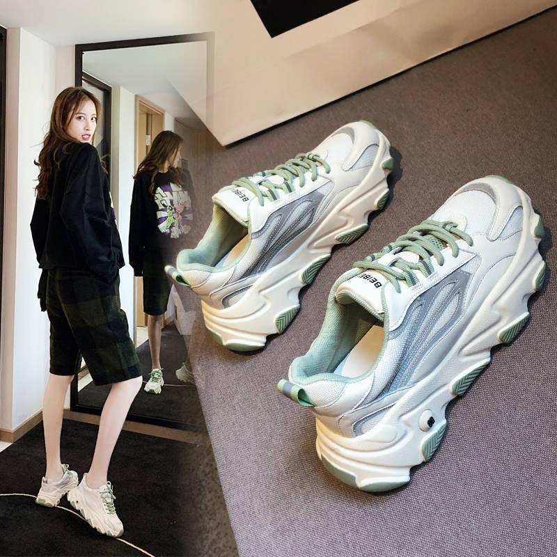 耐克运动鞋图片 帕耐克丝女鞋2020新款老爹鞋女百搭透气网面运动休闲鞋韩版小熊底_推荐淘宝好看的女耐克运动鞋