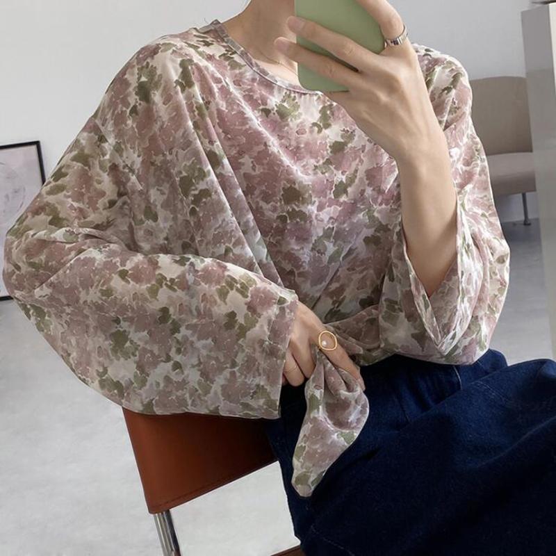 粉红色雪纺衫 夏季粉红色碎花雪纺衫女长袖上衣温柔风罩衫宽松甜美小衫法式衬衫_推荐淘宝好看的粉红色雪纺衫