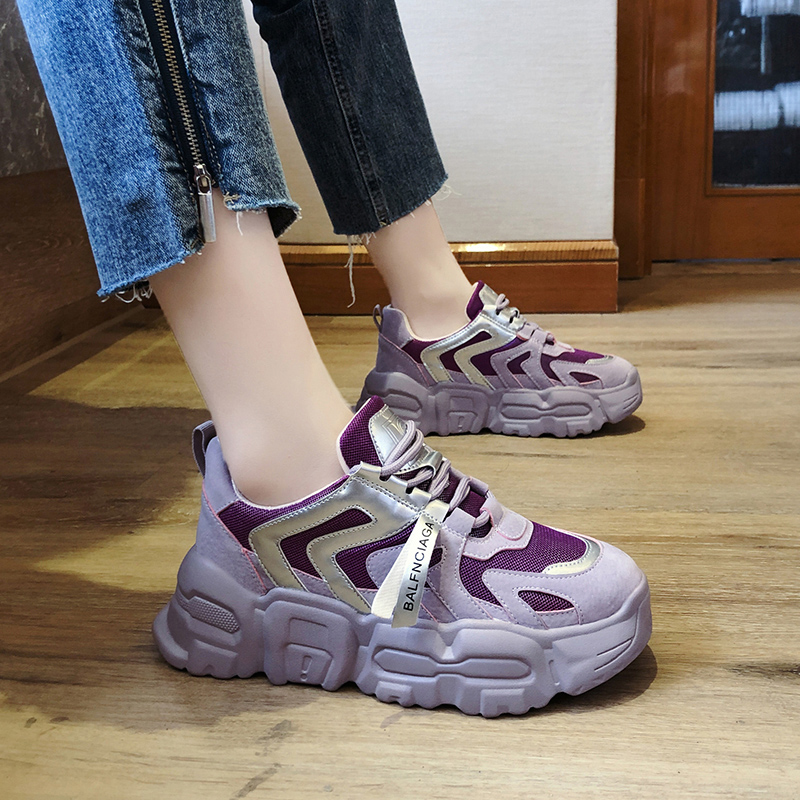 紫色厚底鞋 网红老爹鞋女ins潮2020新款女鞋春季韩版百搭厚底松糕紫色运动鞋_推荐淘宝好看的紫色厚底鞋