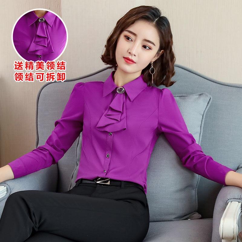 紫色雪纺衫 紫色衬衫女长袖职业雪纺上衣2021春秋新款女士打底衬衣工作服韩版_推荐淘宝好看的紫色雪纺衫