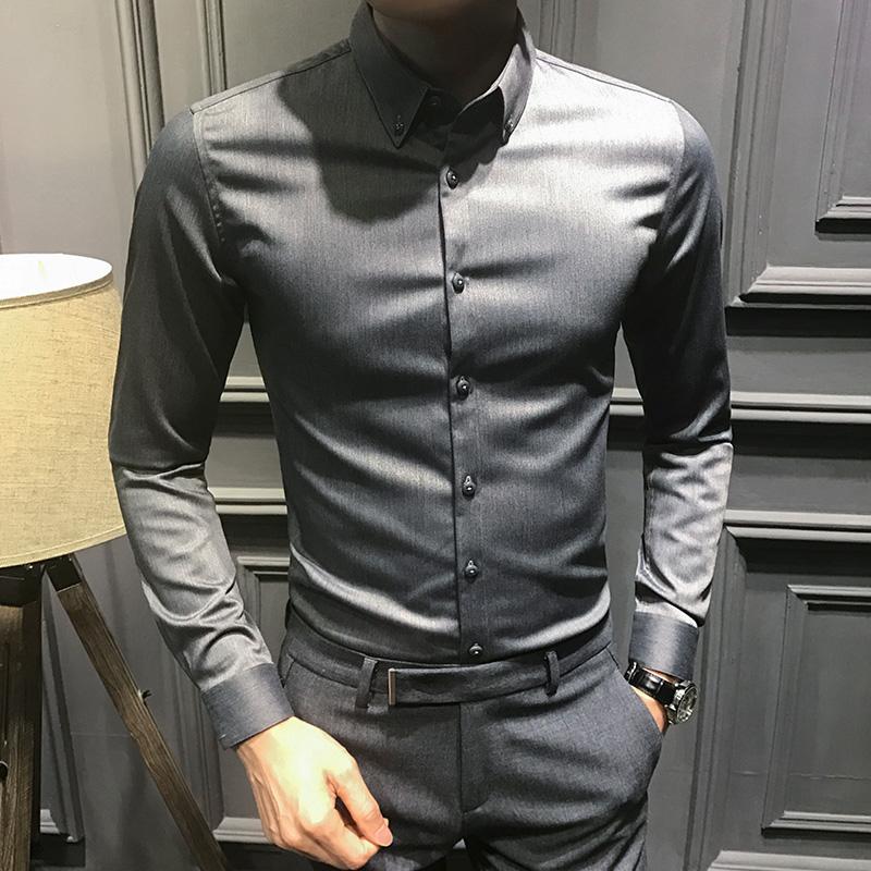 紫色衬衫 2020新款秋季长袖衬衫男时尚帅气修身黑色衬衣男英伦韩版潮流加绒_推荐淘宝好看的紫色衬衫