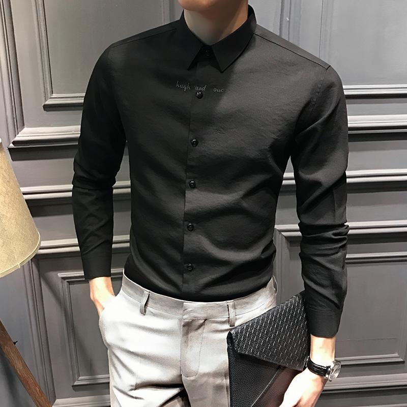 黑色衬衫 男士长袖衬衫秋冬韩版修身休闲黑色商务加绒衬衣潮流帅气高端男装_推荐淘宝好看的黑色衬衫