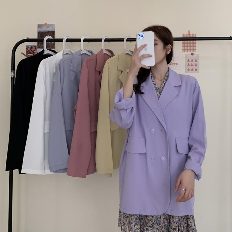 紫色小西装 紫色西装外套春秋季2021新款网红休闲西服女上衣服爆款薄款小个子_推荐淘宝好看的紫色小西装