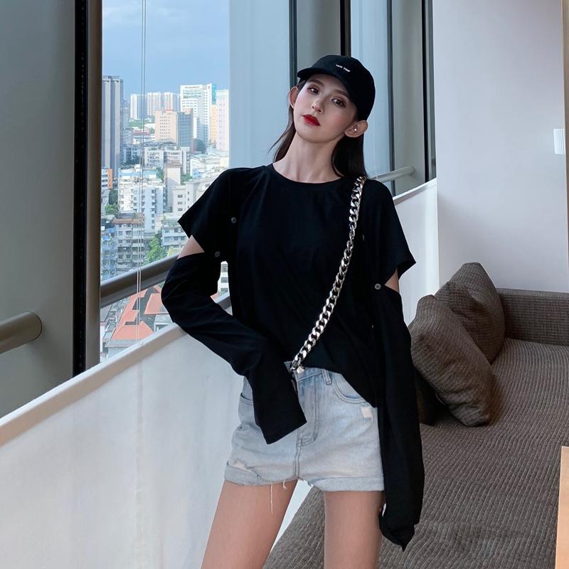 个性女装 秋季个性上衣黑色宽松长袖t恤女装2019新款韩版显瘦打底衫ins潮_推荐淘宝好看的个性女装