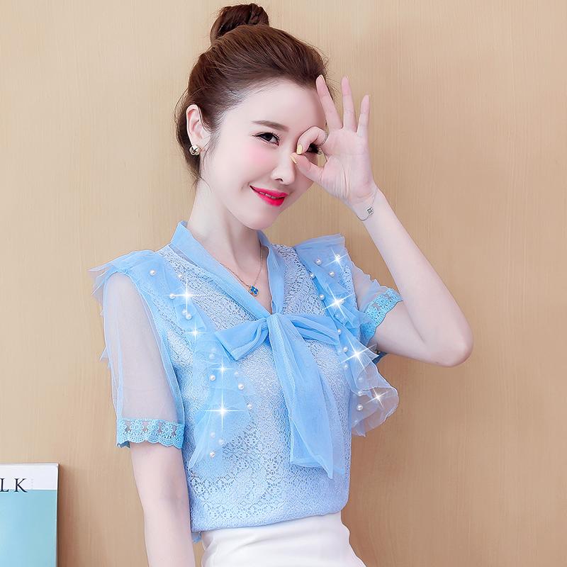 韩版雪纺衫 很仙的上衣设计感网纱雪纺衬衫女夏装新款韩版显瘦打底衫短袖女式_推荐淘宝好看的韩版雪纺衫