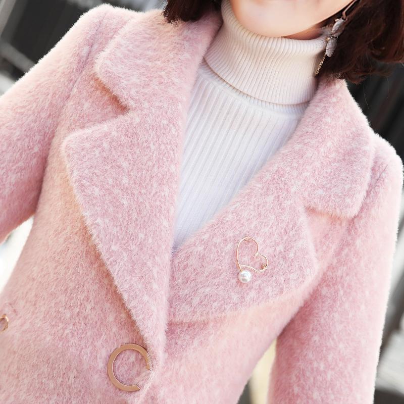 毛呢韩版外套 金貂绒毛呢外套女2019新款冬季韩版中长款加厚妮子小个子呢子大衣_推荐淘宝好看的女毛呢韩版外套