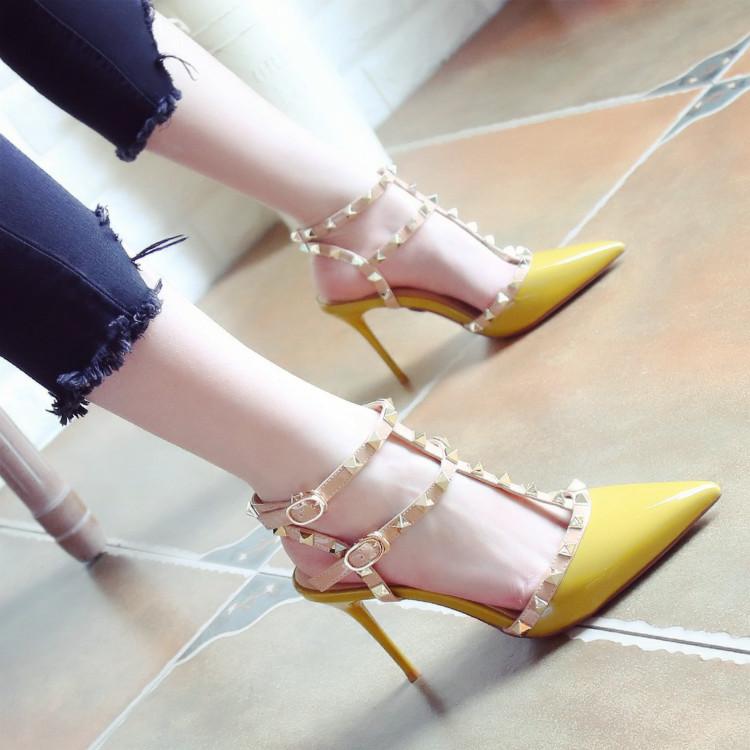 细高跟鞋 名媛风2020夏季新款浅口时尚铆钉尖头鞋细跟高跟鞋一字扣凉鞋女_推荐淘宝好看的女细高跟鞋