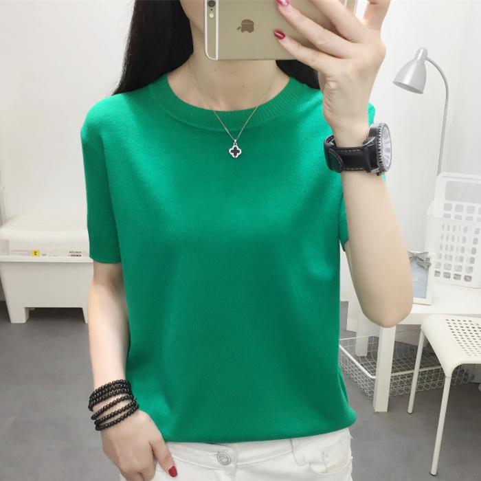 绿色针织衫 针织宽松短款上衣绿色夏季圆领韩版薄款新款净版短袖女黑色打底衫_推荐淘宝好看的绿色针织衫
