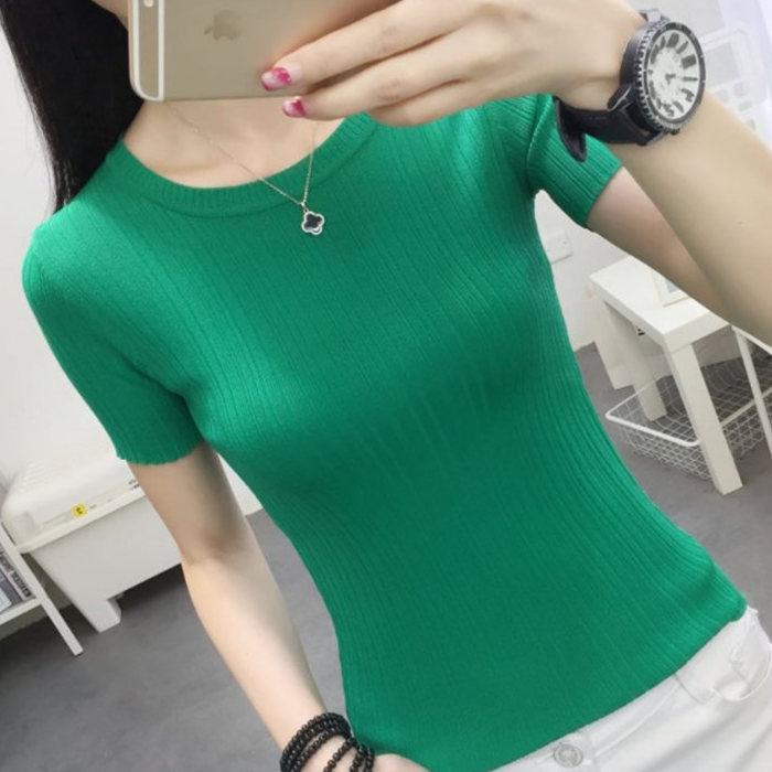 绿色针织衫 冰丝针织短袖女春夏套头绿色薄新款短款紧身打底衫修身上衣t恤女_推荐淘宝好看的绿色针织衫