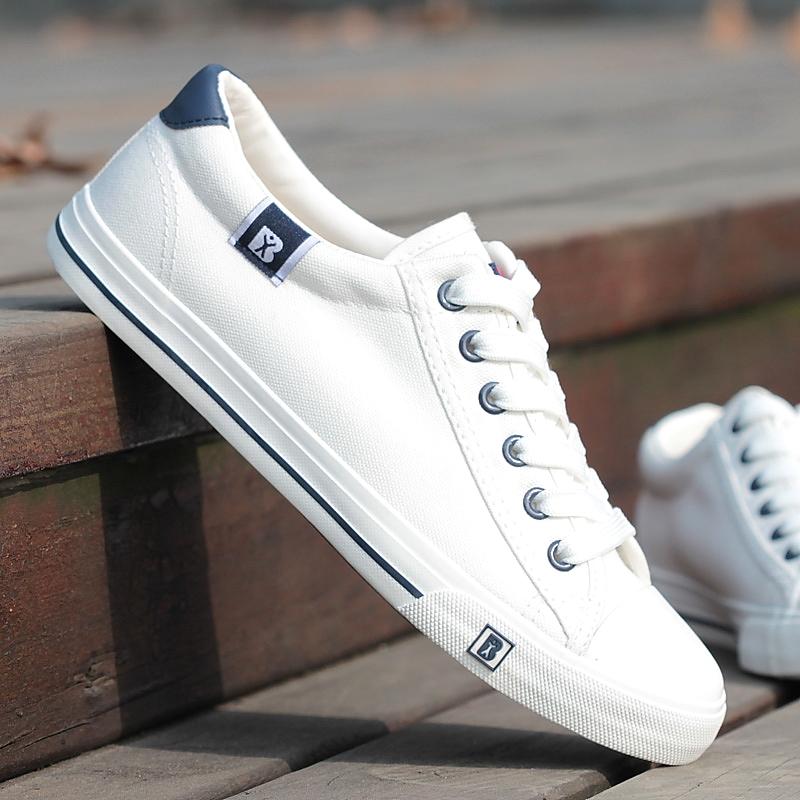 白色帆布鞋 人本春夏帆布鞋男女士低帮情侣款白色休闲鞋板鞋男学生百搭单鞋男_推荐淘宝好看的白色帆布鞋