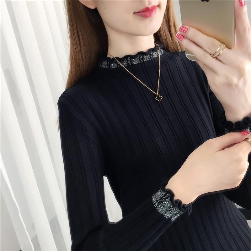 黑色针织衫 黑色打底衫女2020新款洋气针织衫亮丝上衣修身紧身秋冬半高领毛衣_推荐淘宝好看的黑色针织衫