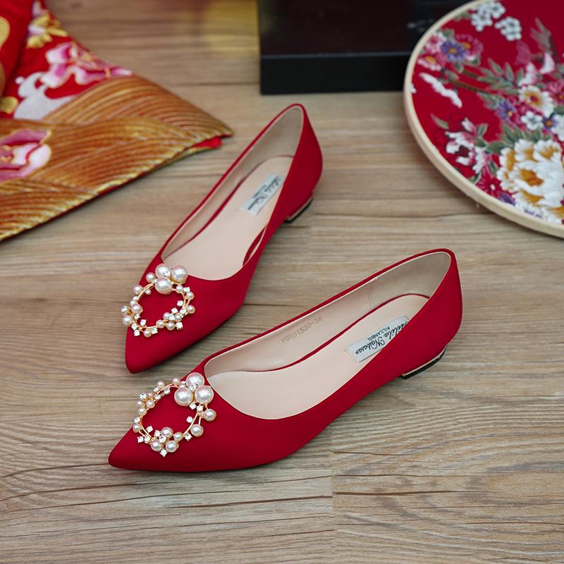 红色平底鞋 婚鞋夏季女秀禾婚纱两穿2021年新款红色平底新娘鞋孕妇可穿不累脚_推荐淘宝好看的红色平底鞋