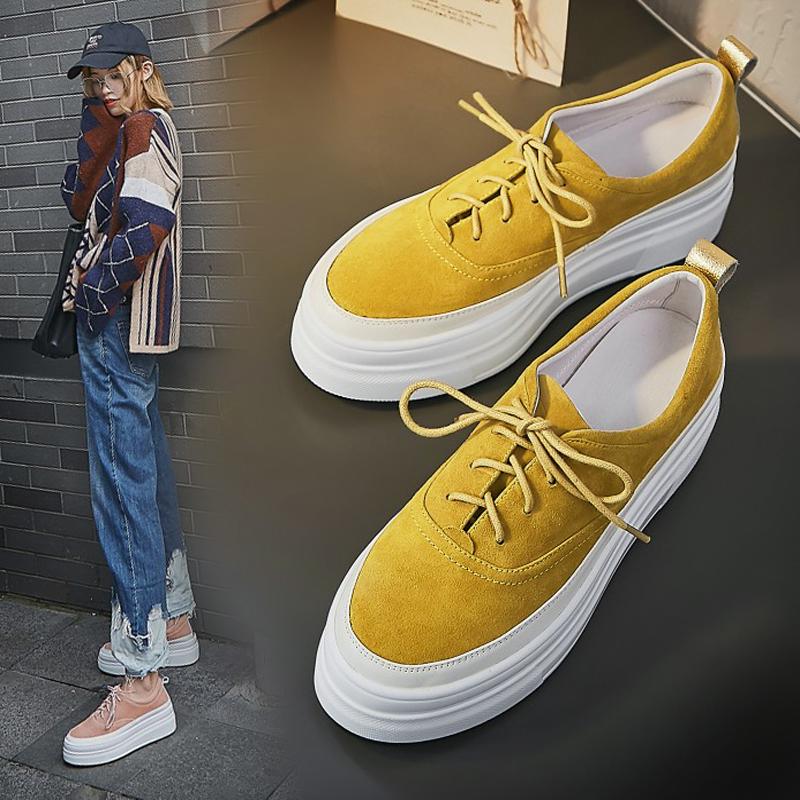黄色松糕鞋 厚底松糕鞋女2020秋季新款磨砂真皮坡跟系带单鞋黄色高跟乐福潮鞋_推荐淘宝好看的黄色松糕鞋