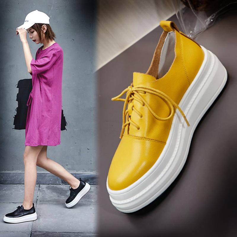 黄色坡跟鞋 2021春新款坡跟单鞋女真皮圆头厚底系带松糕鞋黄色中跟乐福休闲鞋_推荐淘宝好看的黄色坡跟鞋