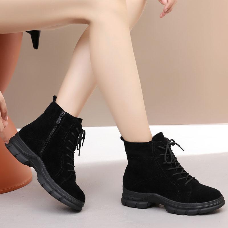 松糕厚底坡跟鞋 秋冬季女鞋厚底女靴坡跟短靴加绒棉靴女棉鞋磨砂牛皮马丁靴子松糕_推荐淘宝好看的女松糕厚底坡跟鞋