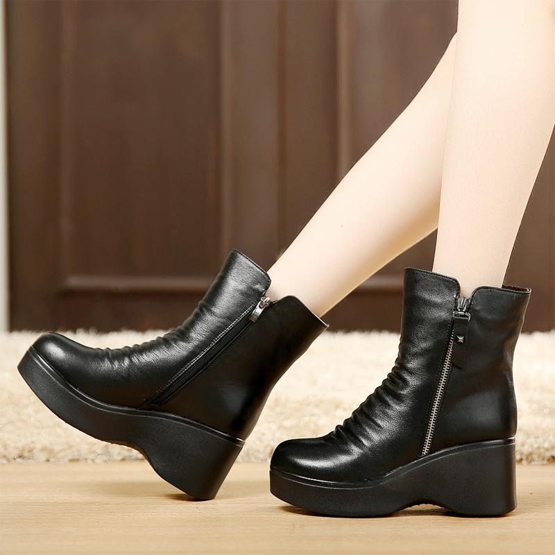 高跟坡跟鞋 冬季女鞋厚底短靴坡跟女靴松糕跟靴子棉靴女棉鞋防水台真皮高跟鞋_推荐淘宝好看的高跟坡跟鞋