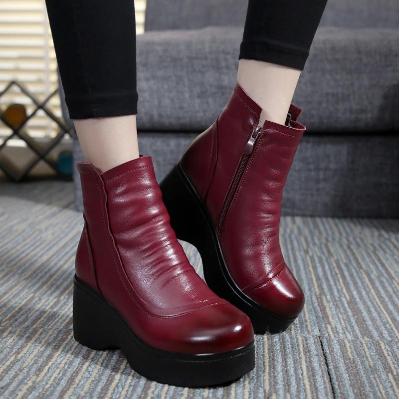 真皮松糕鞋 冬季女棉鞋厚底松糕跟棉靴短靴女真皮加绒女靴防水台靴子短筒靴_推荐淘宝好看的女真皮松糕鞋