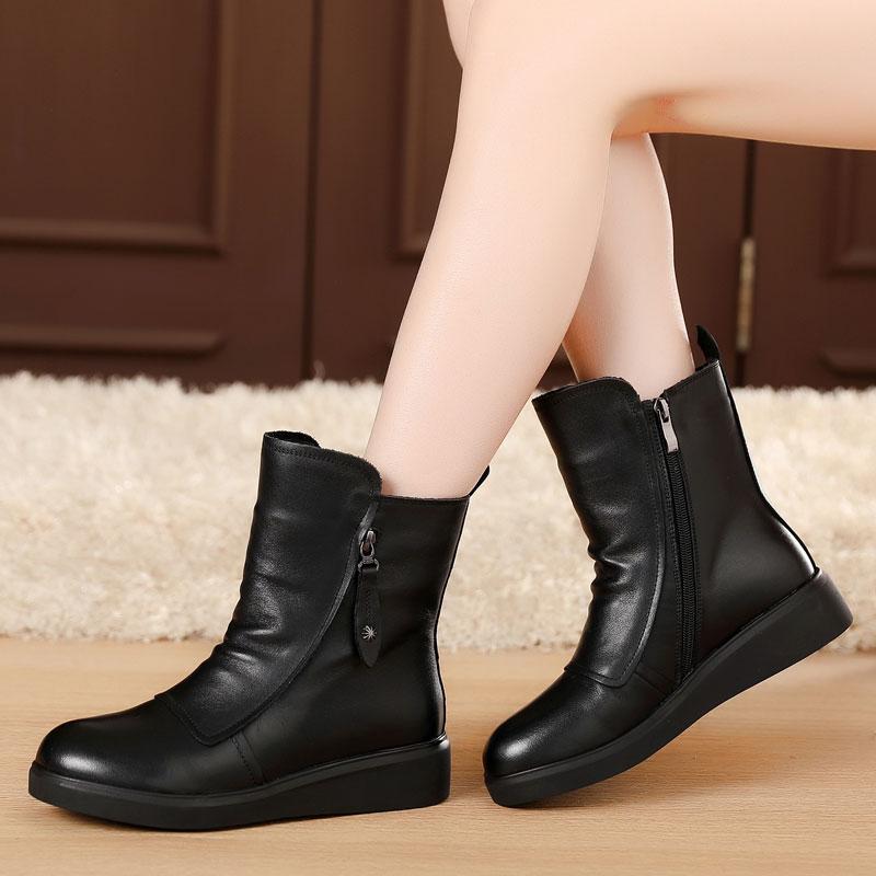 真皮平底鞋 马丁靴女英伦风平跟短靴女加绒棉靴棉鞋真皮短靴平底靴牛皮靴子_推荐淘宝好看的女真皮平底鞋