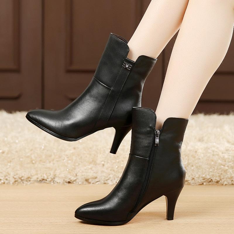 女性高跟鞋 秋冬季女鞋真皮女靴高跟鞋中筒靴单靴尖头靴子细跟中靴棉靴牛皮靴_推荐淘宝好看的女高跟鞋