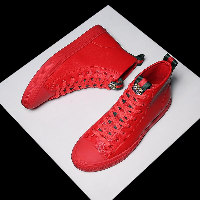 红色高帮鞋 冬季男鞋红色高帮鞋男韩版潮流小红鞋男士英伦百搭板鞋高邦潮鞋子_推荐淘宝好看的红色高帮鞋