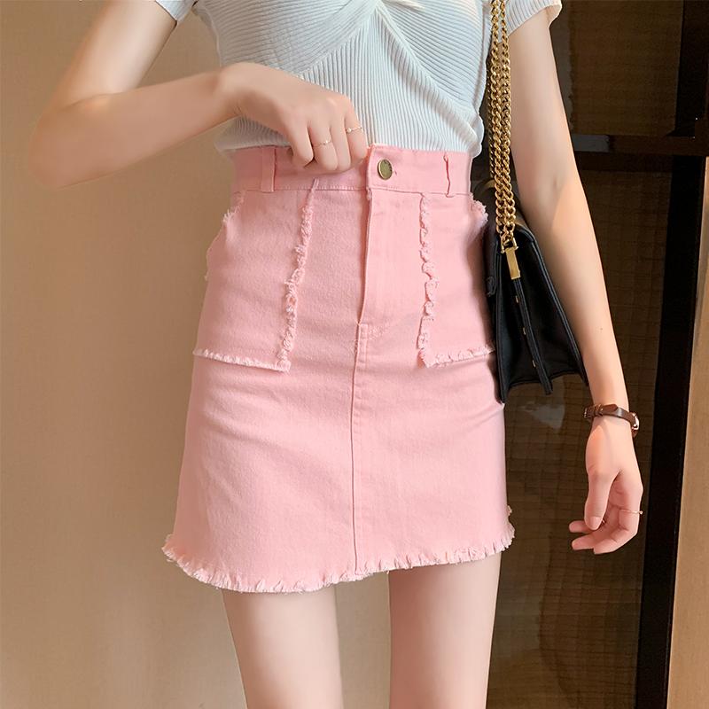 粉红色半身裙 粉红色夏季新款半身裙高腰修身a字短裙女包臀裙牛仔裙纯棉半身裙_推荐淘宝好看的粉红色半身裙