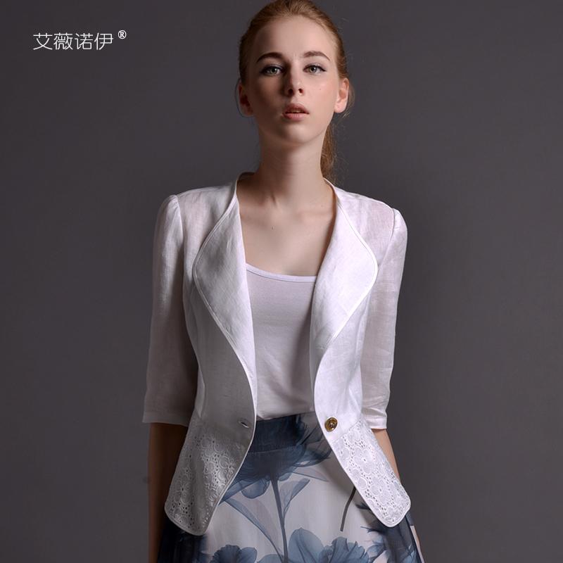 白色小西装 艾薇诺伊2021新款春夏薄款亚麻小西装女外套修身白色通勤短款上衣_推荐淘宝好看的白色小西装