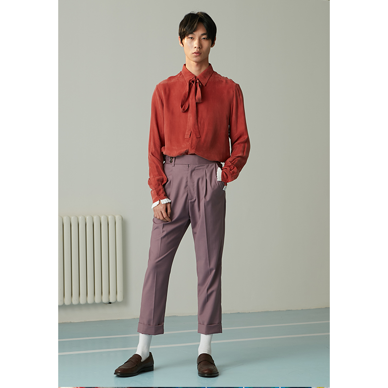 男士衬衫 mixseven原创复古焦糖色系带长袖丝质衬衫男潮流衬衣 罗云熙同款_推荐淘宝好看的男衬衫