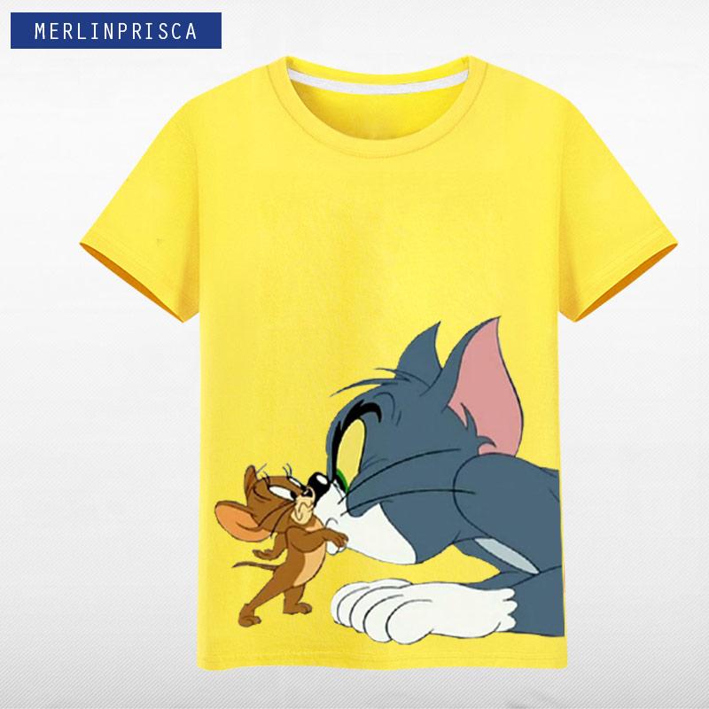 男士短袖t恤 猫和老鼠 夏季纯棉男女休闲宽松青少年印花短袖T恤半袖衣服_推荐淘宝好看的男短袖t恤