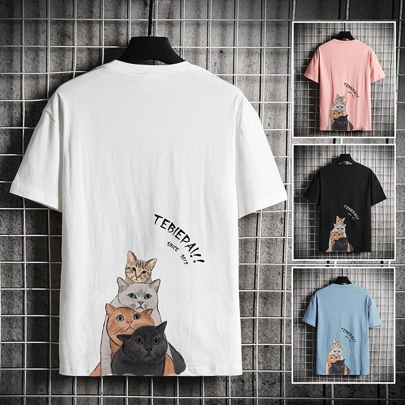 白色T恤 2021夏季新款猫咪印花短袖T恤男士白色打底衫潮流情侣半袖体恤tee_推荐淘宝好看的白色T恤