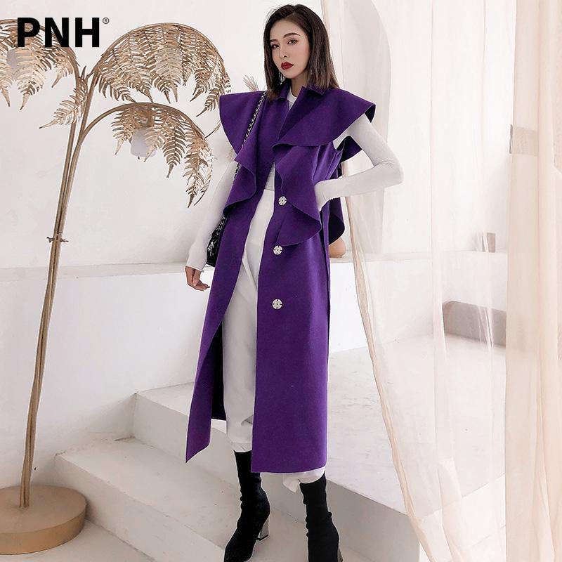紫色马甲 品诺狐紫色毛呢马甲女中长款双面呢2021秋冬新款时尚女士长款呢子_推荐淘宝好看的紫色马甲