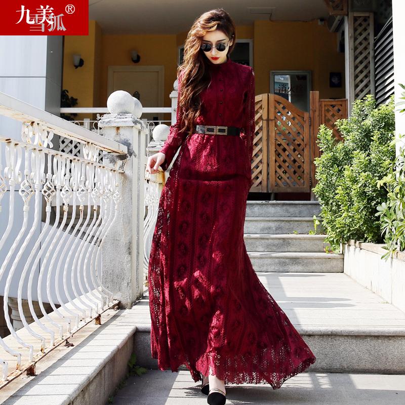 红色蕾丝连衣裙 2021春夏女装高端欧洲站欧货红色气质蕾丝到脚踝超长款长裙连衣裙_推荐淘宝好看的红色蕾丝连衣裙