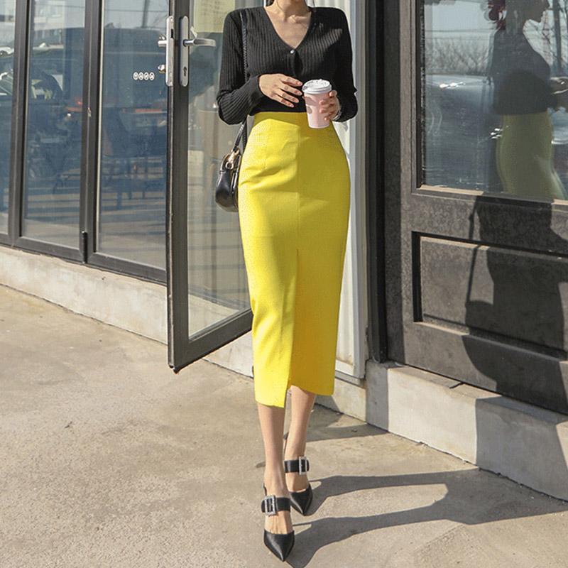 黄色半身裙 2020春夏季新款铅笔裙黄色半身裙高腰显瘦中长款开叉职业包臀裙女_推荐淘宝好看的黄色半身裙