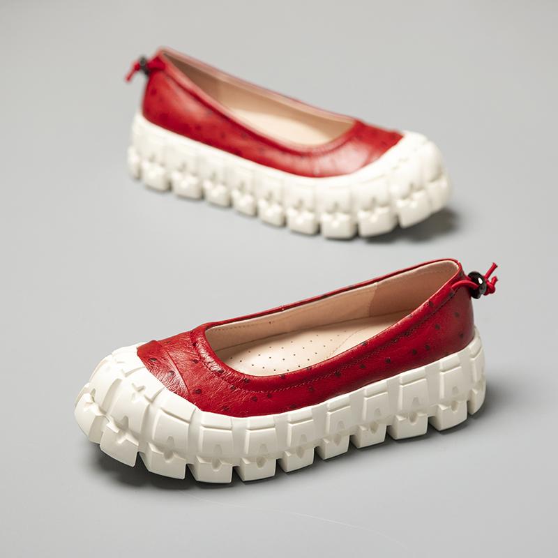 红色松糕鞋 西班牙小众设计师专题浅口松糕鞋女红色波点鸵鸟纹抽绳厚底单鞋_推荐淘宝好看的红色松糕鞋