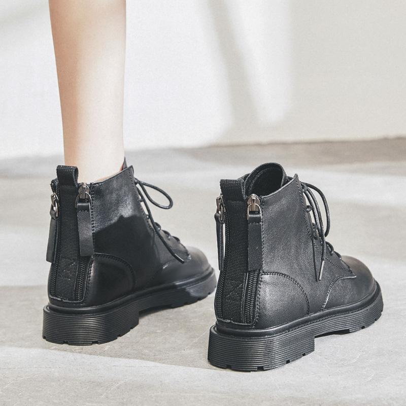 英伦短靴 真皮马丁靴女2020年新款百搭低帮冬季加绒软皮靴子英伦风小短靴_推荐淘宝好看的女英伦短靴