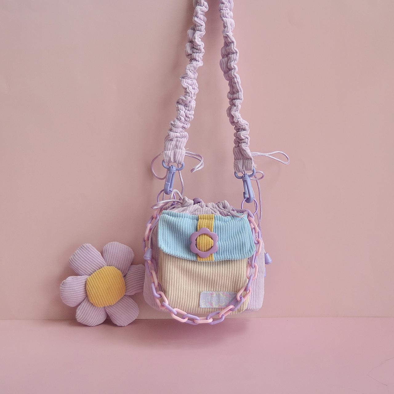 紫色水桶包 原创紫色包包女斜挎包 灯芯绒撞色花朵包包可爱少女斜挎水桶包女_推荐淘宝好看的紫色水桶包