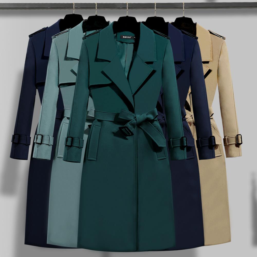风衣 2020年流行军绿色风衣女外套秋装新款气质英伦外衣中长款修身大衣_推荐淘宝好看的女风衣