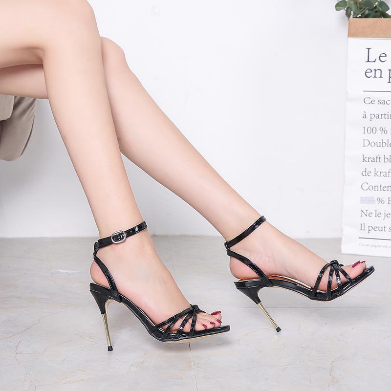 性感高跟鞋 欧美10厘米金属超细高跟脚踝腕带性感时尚大码高跟凉鞋男女通用款_推荐淘宝好看的女性感高跟鞋