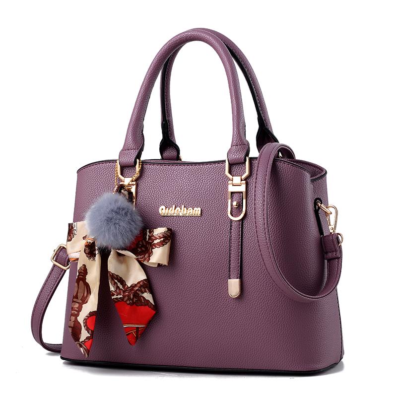 紫色斜挎包 女士包包2020新款百搭时尚大气中年女包单肩斜挎妈妈包手提包韩版_推荐淘宝好看的紫色斜挎包