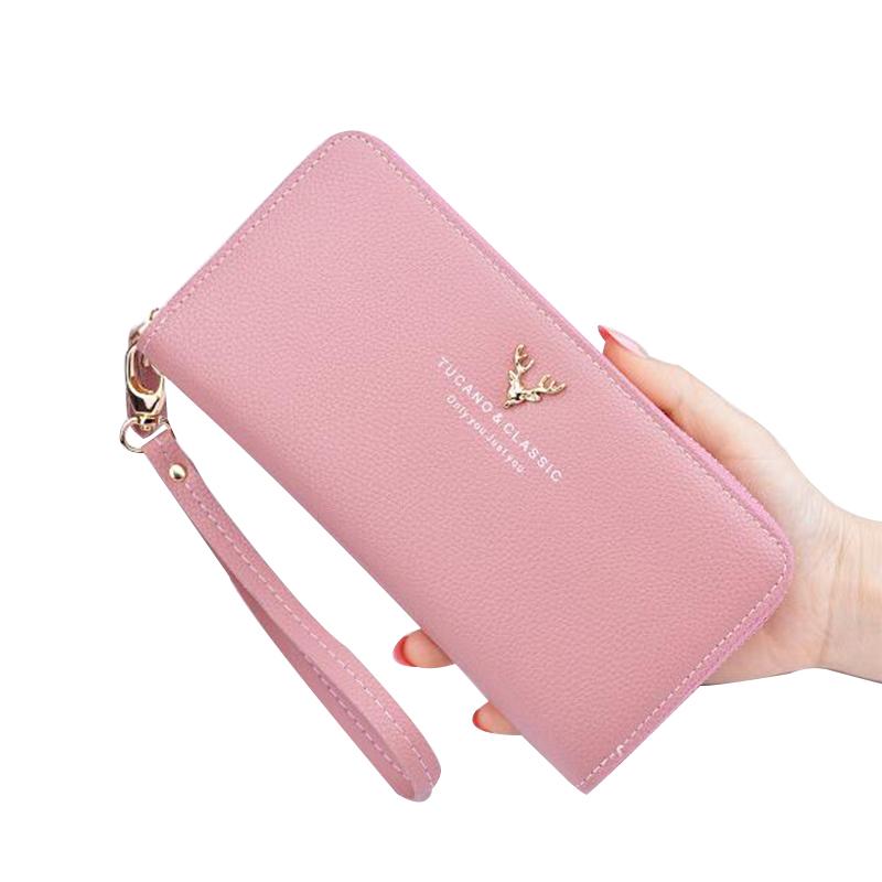 粉红色手拿包 钱包女长款钱夹手机包日韩版时尚手拿包女零钱包卡包简约女手包_推荐淘宝好看的粉红色手拿包