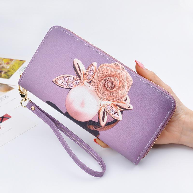 紫色手拿包 钱包女长款女士钱夹2019新款印花女包日韩版拉链多功能手拿包女潮_推荐淘宝好看的紫色手拿包