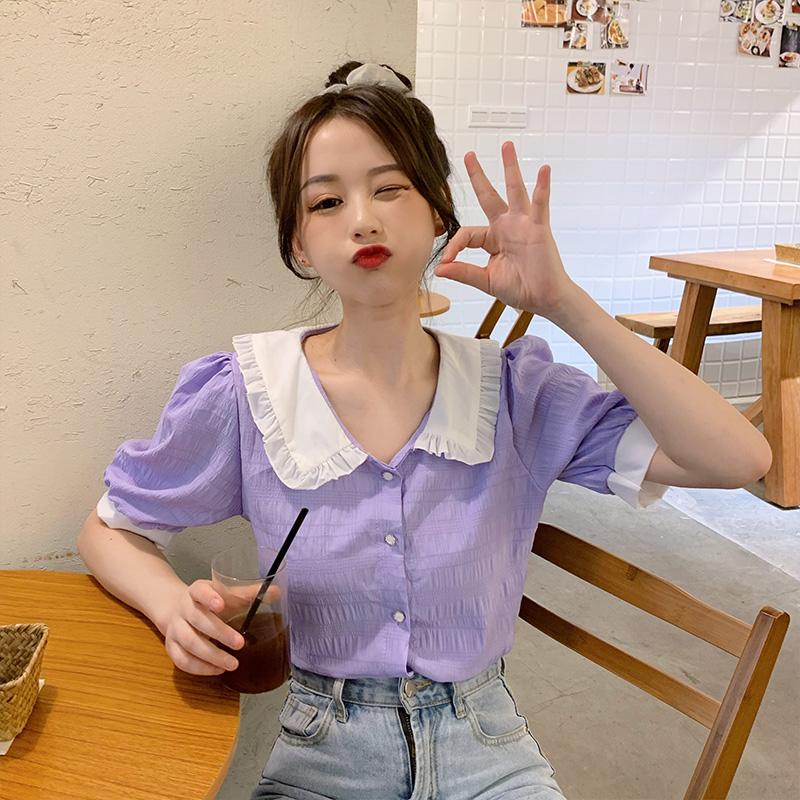 紫色雪纺衫 法式温柔风娃娃领衬衣2020夏装新款宽松泡泡袖紫色雪纺衬衫女上衣_推荐淘宝好看的紫色雪纺衫